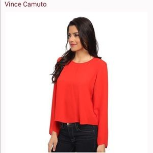 Vince Camuto Red Blouse with Bell Sleeves Size S